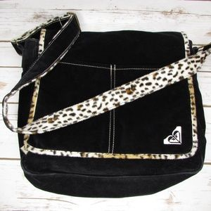 Roxy Black Leopard Print Plush Messenger Bag